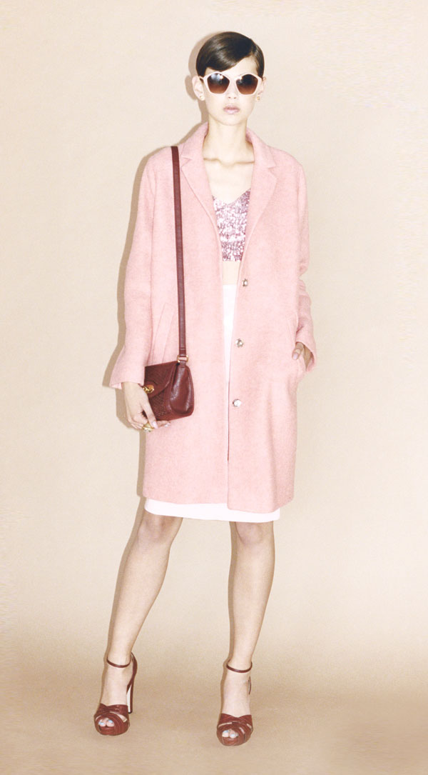 Lettie hexagon sunglasses, pink sequin bralet, white A-line skirt, pink boyfriend coat, woven mini cross-body bag