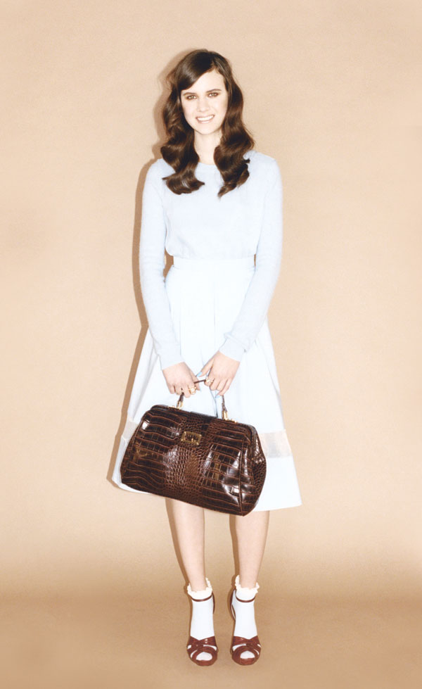 Knitted organza jumper, pleated midi skirt, croc doctors bag, lace-trimmed ankle socks, ankle-strap sandals