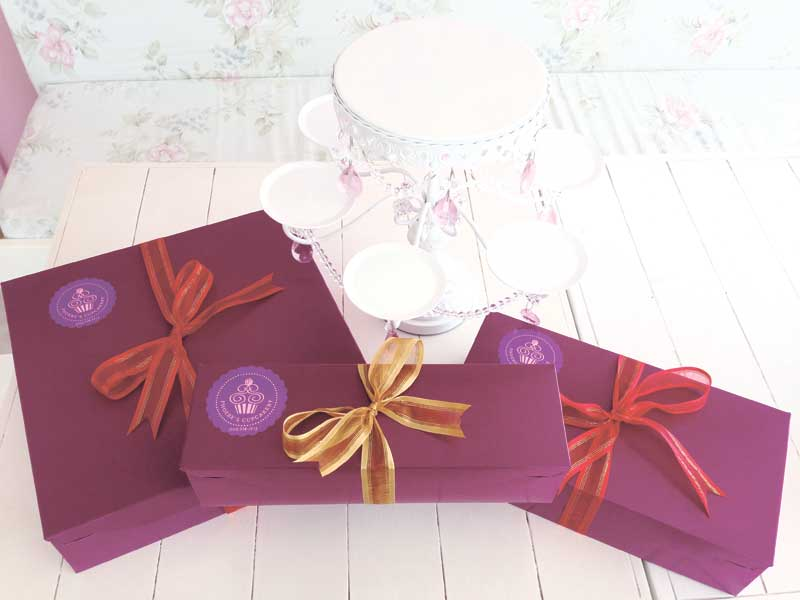 Phoebe's Cupcakery's special Christmas boxes for the goodies