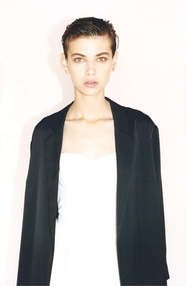 White sweetheart neckline top, black oversized blazer