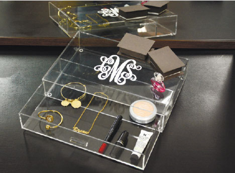 Clear acrylic drawers are beautiful and functional for any dressing table. It's easy to see exactly what jewelry and cosmetics you need; no more rummaging through a jewelry box or makeup bag to find what you're looking for. At the same time, it's a sleek way to display those pretty items.
