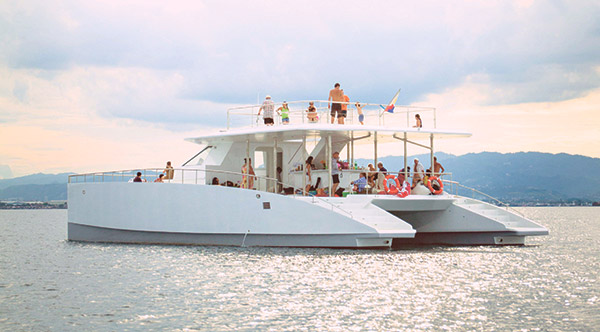 CRUISE. Want to go for an exclusive ride in the waters off Mactan Island? Then try the luxury catamaran yacht Jokai I, which can accommodate as many as 50 guests, and is fully furnished with built-in bar and music system. (CONTRIBUTED FOTO)