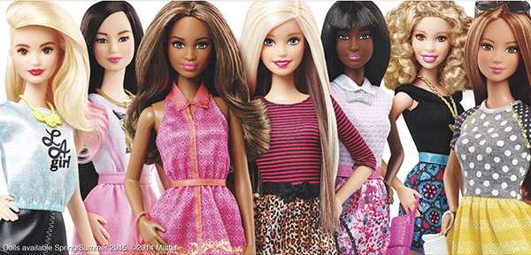 DIVERSITY AMONG DOLLS. This photo provided by Mattell shows new Barbie dolls. Mattel, the toy company behind the plastic dolls, said there were some signs of improvement for Barbie after years of falling sales. The new Barbie has different ethnicities to better relate to multicultural girls and their mothers. (AP FOTO)