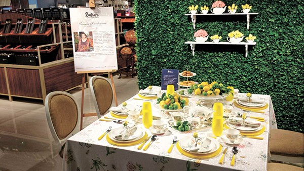 Event stylist Teresin Mendoza's colorful garden setting for high tea or lunch using settings from Lenox.