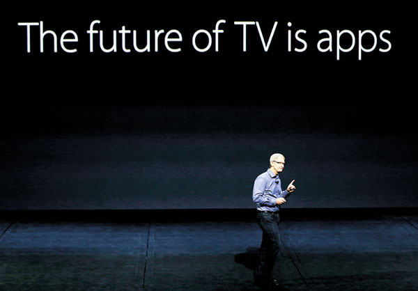 SEER. Apple CEO Tim Cook discusses the Apple TV product at the Apple event in the Bill Graham Civic Auditorium in San Francisco. (Inset) The Apple Pencil is used on on the new iPad Pro and then shown on Apple TV during a product display. (AP PHOTOS)