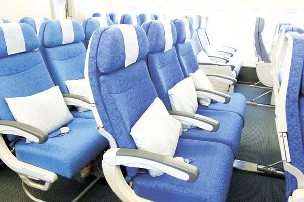 Inflight carpets were produced by regenerated waste materials such as discarded fish nets.