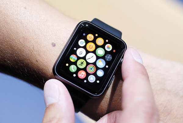 APPLE WATCH. Although the new Apple Watch doesn't have GPS, it learns your walking and running patterns when you have the phone with you, so it's more accurate than other non-GPS watches when you leave the phone at home. (AP PHOTO)