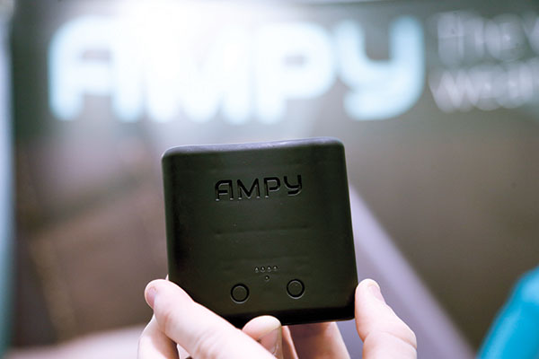 An Ampy charging device can charge phones by movement. (AP PHOTO)