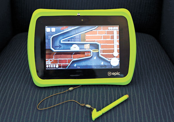 LEAPFROG EPIC. LeapFrog's Android-based Epic kids tablet has a sleek design, but the bright green bumper is removable. It's much faster than a LeapPad and can run Android-based content, but in-app purchases and inappropriate ads are blocked. (AP PHOTO)