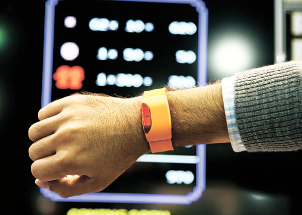 The Moff Band motion sensor bracelet is on display at the Moff booth. (AP PHOTO)
