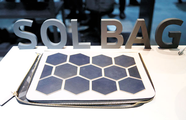 The Sol Bag solar power charger and handbag is on display at the Samsung booth. (AP PHOTO)
