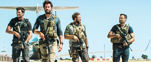 """Pablo Schreiber (from left), as Kris """"Tanto"""" Paronto, John Krasinski as Jack Silva, David Denman as Dave """"Boon"""" Benton and Dominic Fumusa as John """"Tig"""" Tiegen, in the film, """"13 Hours: The Secret Soldiers of Benghazi"""" from Paramount Pictures and 3 Arts Entertainment/Bay Films. (AP PHOTO)"""