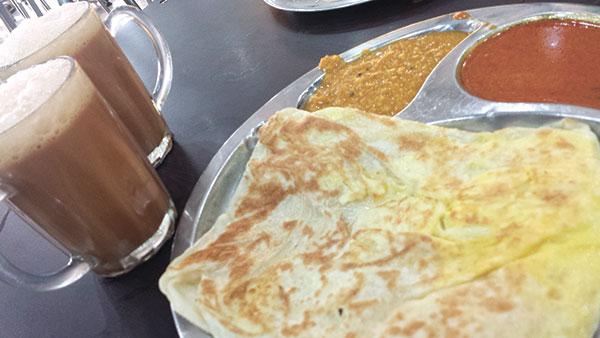 Roti and Tea Tarik at an Indian eatery in Kota Kinabalu, Sabah