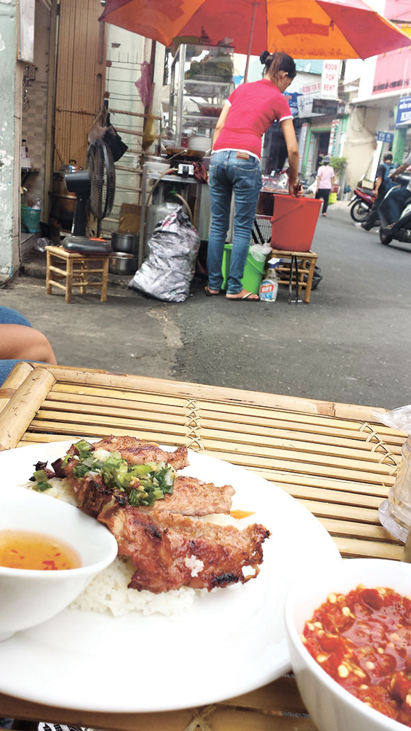 Thit Nuong, or grilled pork, served on a roadside in Saigon