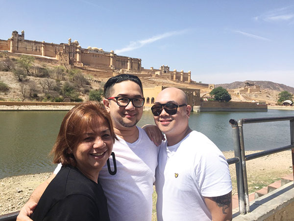With jay Unchuan and Alex Diola. Amer Fort at the background.