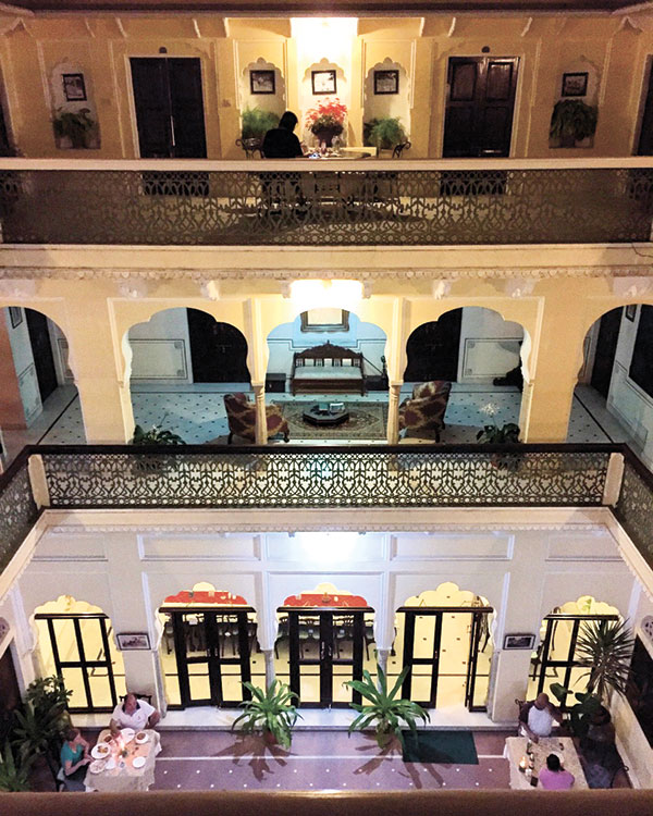 Khandela Haveli at night. Our room is that door on the left on the third floor.