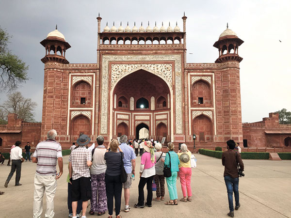 The entrance gate to the Taj Mahal.