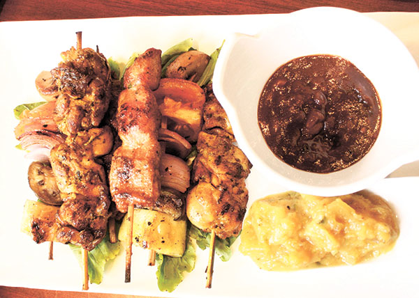 Assorted Satay with Peanut Hoisin Sauce and Pineapple Sambal