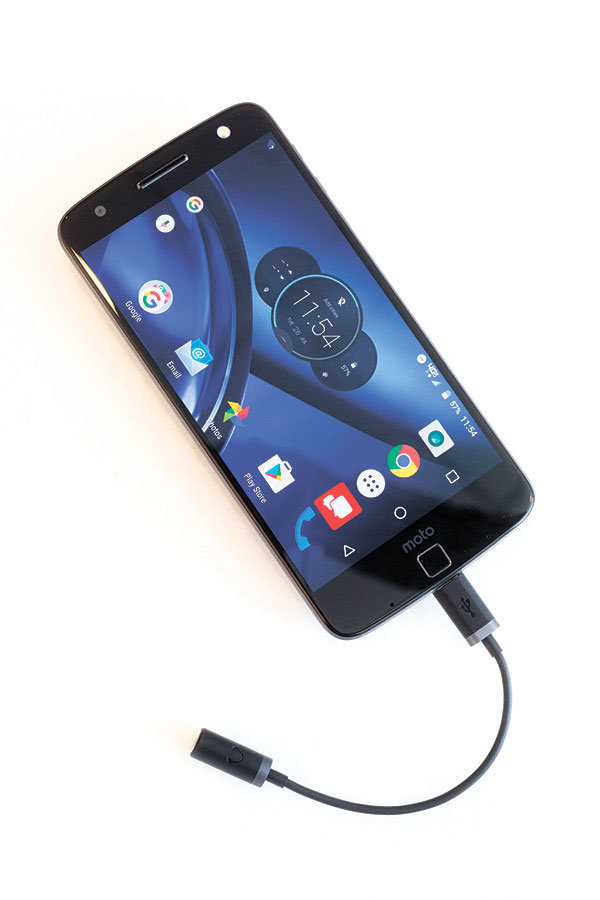 Moto Z Droid. With a headphone adapter attached, Motorola's Moto Z Droid phone ditches the headphone jack that has long been a part of cellphones, and the included adapter is required for headphones that aren't wireless or that don't plug directly into the phone's USB-C port. (AP PHOTO)