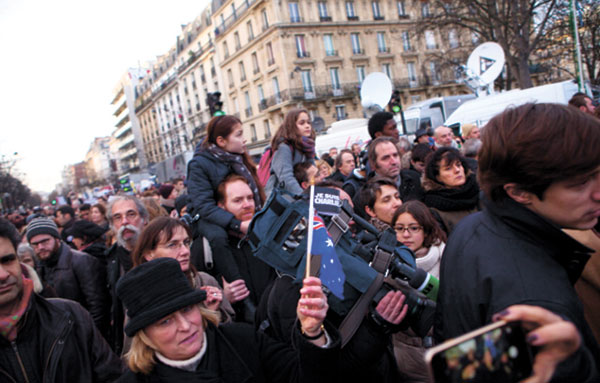 A rally after the Charlie Hebdo shooting in January 2015.