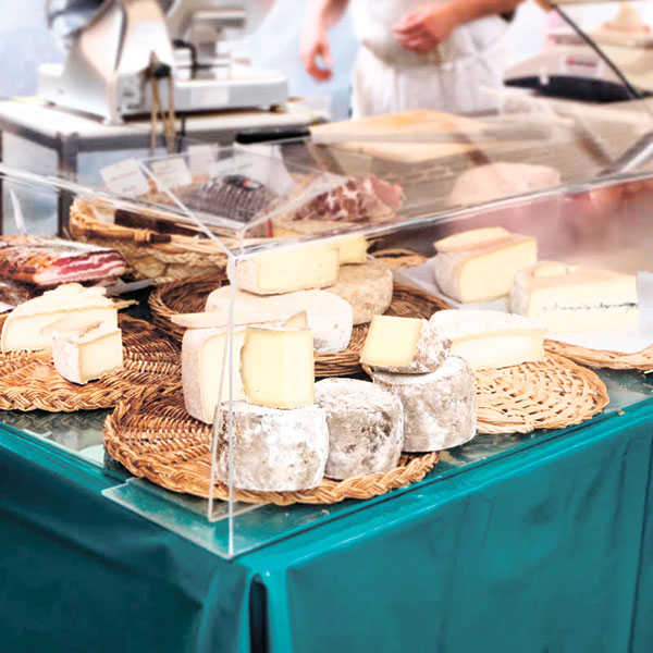 Cheese display at a food market
