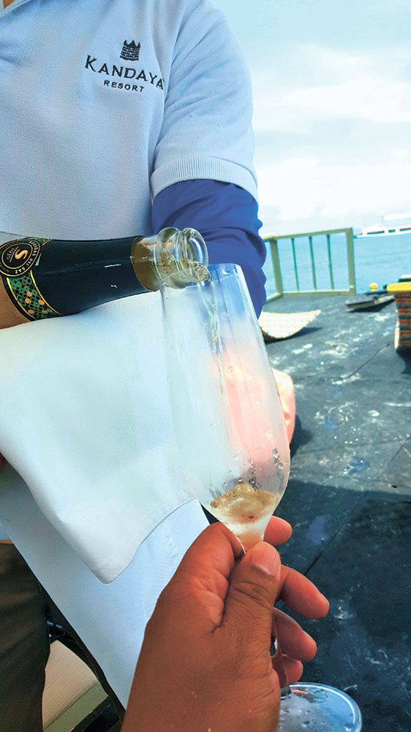 Freeflowing drinks on an outrigger boat