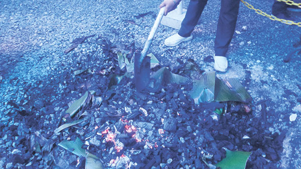 ...before getting buried in hot coals.