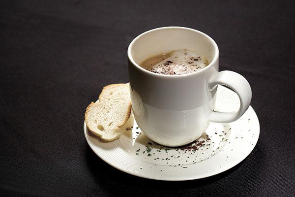 Mushroom Cappuccino with Cocoa and Tarragon Powder