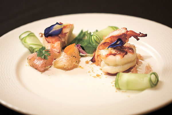 Poached Lemongrass Prawn with Pomelo and Fresh Herb  Salad